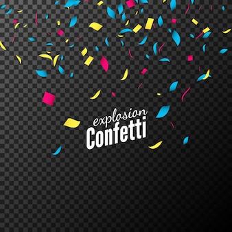 Confettis colorés isolés sur fond sombre