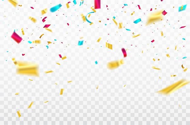 Confettis colorés rubans de carnaval de célébration.