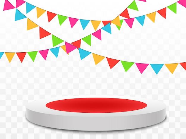 Des confettis colorés tombent sur le podium. fond festif. bon anniversaire. jour de repos.