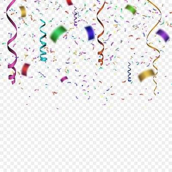 Confettis colorés. vector illustration festive de la chute des paillettes de confettis brillants. tinsel décoratif de vacances