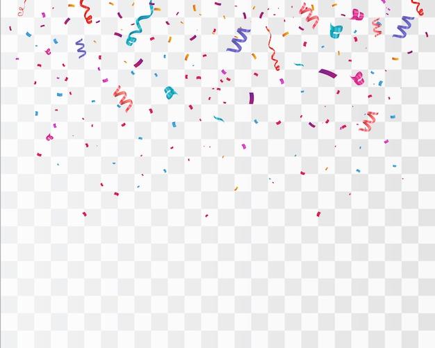 Confettis de couleur isolé sur fond blanc. célébrer