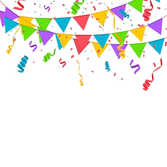 Confettis de couleur isolé sur fond blanc. illustration vectorielle