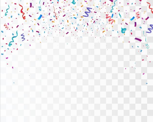 Confettis de couleur isolé sur fond blanc.