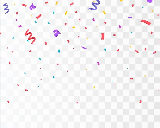 Confettis de couleur isolés. célébrer