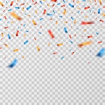 Confettis De Couleur. Rubans De Confettis Tombant Isolés Vecteur Premium