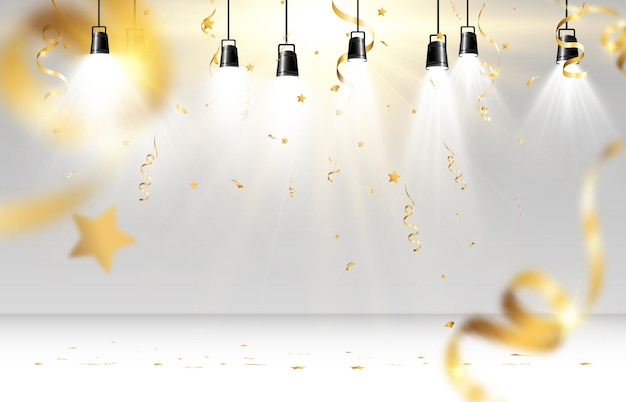 Confettis dorés. banderoles tombant sur scène