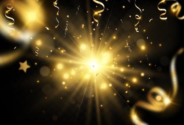 Confettis dorés tombant