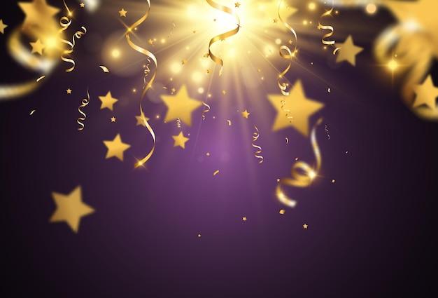 Des confettis dorés tombent sur un beau fond des banderoles tombant sur scène