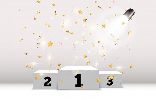 Les confettis dorés tombent sur un beau fond. banderoles tombant sur scène.