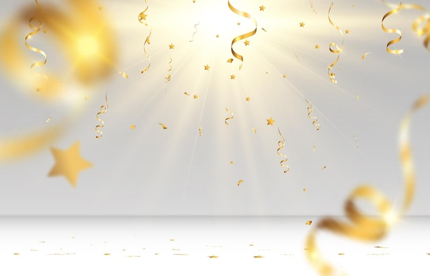 Des confettis dorés tombent sur une scène vide