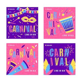 Confettis et feux d'artifice carnaval instagram post collection