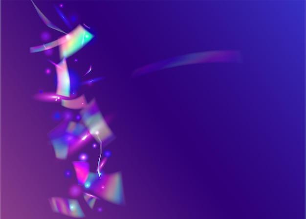 Confettis kaléidoscope. cristal pailleté. étincelles holographiques. art lumineux. éclat brillant. effet de fête bleu. décoration multicolore laser. feuille de glamour. confettis kaléidoscope violet