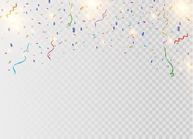Confettis lumineux colorés isolés sur fond transparent