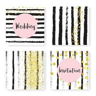 Confettis de mariage paillettes sur rayures, set d'invitation
