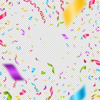 Confettis multicolores sur fond quadrillé.