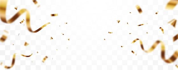 Confettis or et bannière de ruban, isolé sur fond transparent