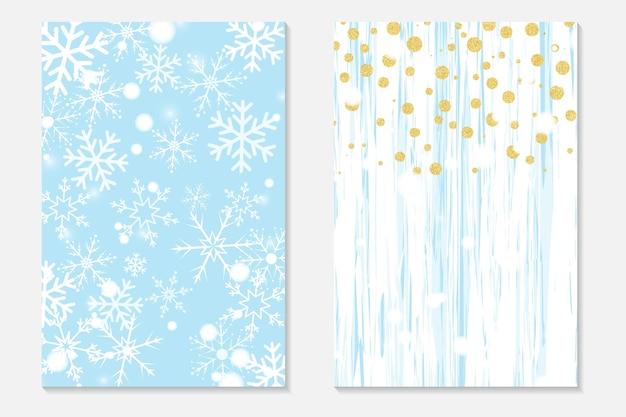 Confettis d'or sur fond minable. couverture sertie de points dorés et de flocons de neige qui tombent. cartes d'invitation pour la fête, flyer.