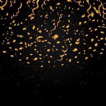 Confettis or sur fond noir. conception de décoration pour la fête de noël, nouvel an. illustration festive de vecteur