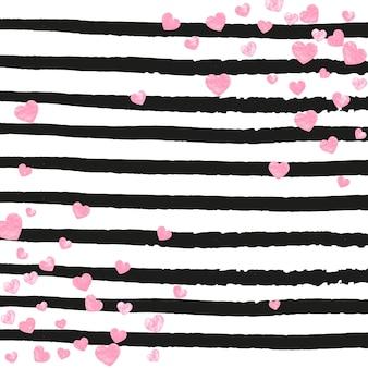 Confettis de paillettes de mariage avec des coeurs sur des rayures noires. paillettes avec des reflets métalliques et des étincelles. concevoir avec des paillettes de mariage roses pour une invitation à une fête, une bannière, une carte de voeux, une douche nuptiale.