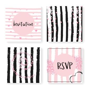 Confettis de paillettes de mariage sur des rayures, modèle d'invitation