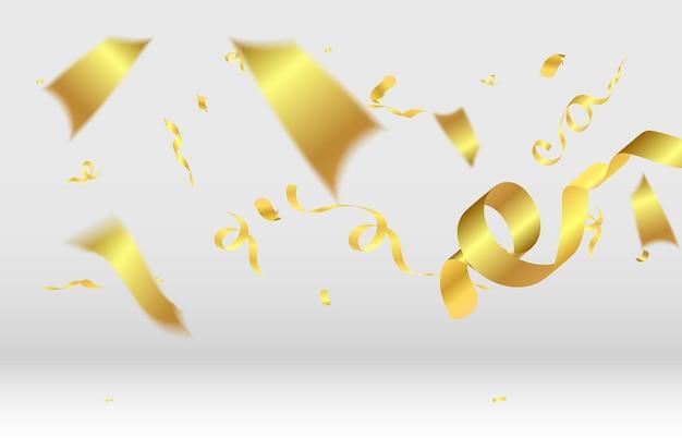 Des confettis réalistes de paillettes dorées volent sur une illustration festive de fond blanc