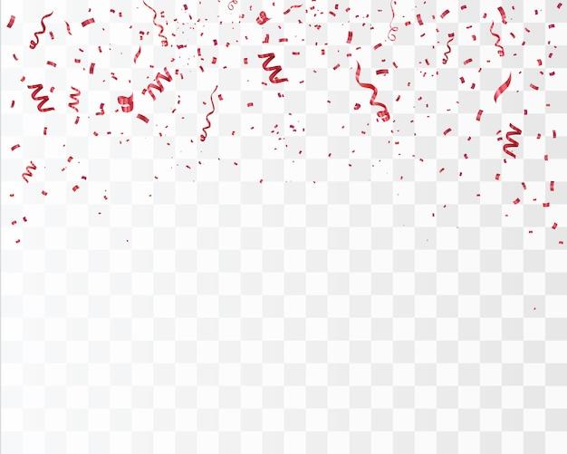Confettis rouges isolés.