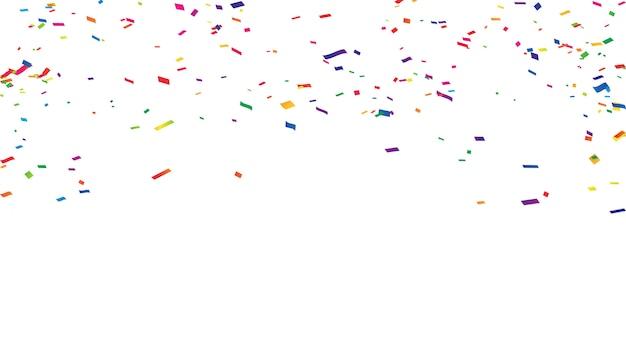Confettis rubans colorés cadre carte de voeux riche riche.