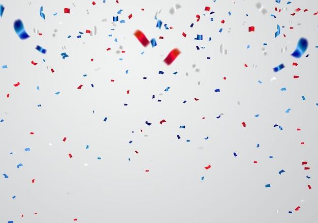 Confettis et rubans rouges et bleus fond de célébration