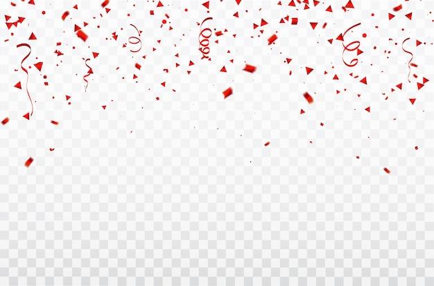 Confettis et rubans rouges.