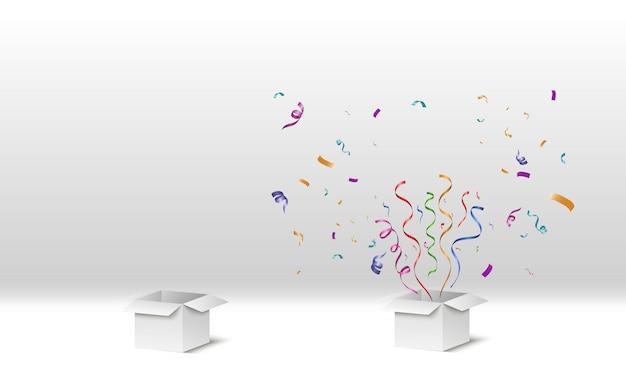 Les confettis sortent de la boîte. surprise. illustration