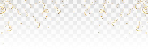 Confettis de vecteur png des confettis d'or tombent du ciel confettis streamer tinsel png