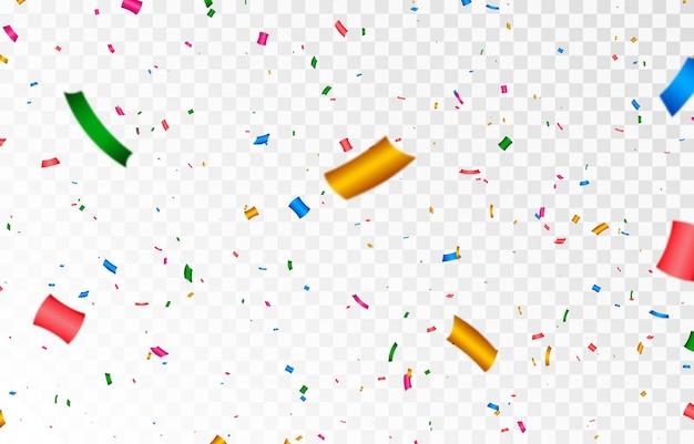 Confettis vectoriels png des confettis multicolores tombent du ciel confettis serpentine tinsel png