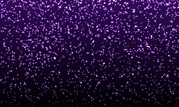 Confettis violets. particules de paillettes d'or. glowing sparkles.