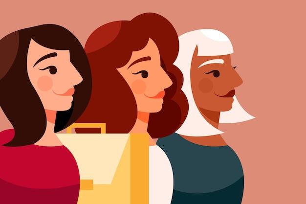 Confiant avatar vue latérale femmes entrepreneurs