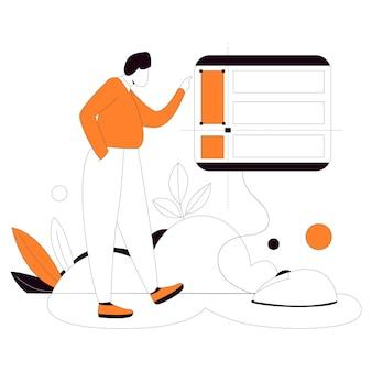 Configurer le kit d'illustration de style plat de site web de mise en page