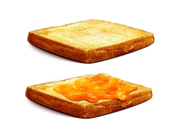 Confiture d'abricots étalée sur du pain grillé, gros plan sur la confiture de gelée isolée