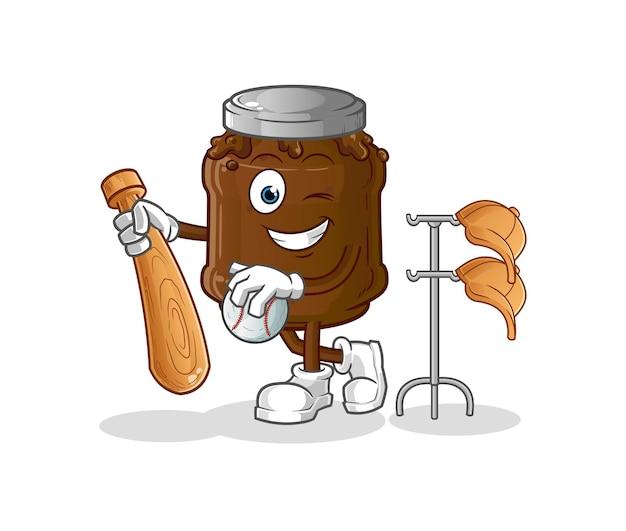 La confiture de chocolat jouant la mascotte de baseball. dessin animé