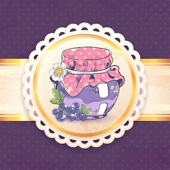 Confiture de myrtilles maison peut rétro avec illustration vectorielle de papier badge