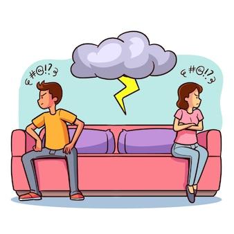 Conflit de couple sur l'illustration du canapé