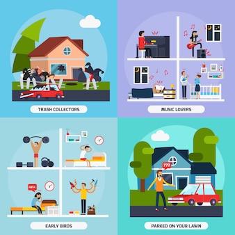 Conflits avec les voisins concept icons set