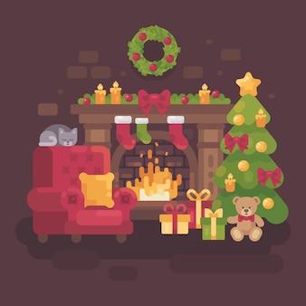 Confortable chambre de noël décorée avec une cheminée