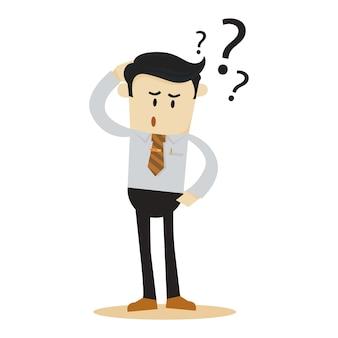 Confus, homme affaires, dessin animé, caractère