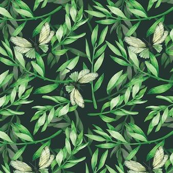Congé vert et papillon seamless pattern à l'aquarelle