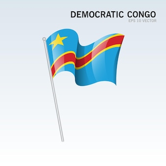 Congo démocratique, agitant le drapeau isolé sur gris