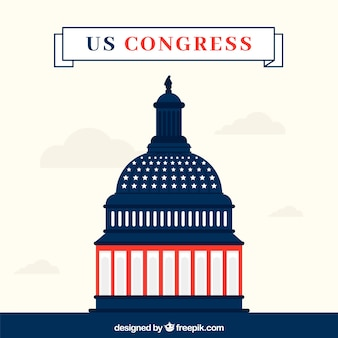 Congrès des états-unis dans le style plat