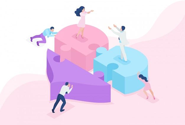 Connaissance du concept de site lumineux isométrique, amour, rencontre, les gens connectent des parties d'un grand cœur. concept pour la conception web