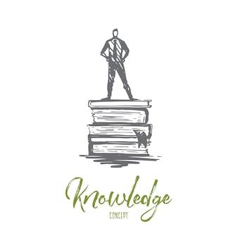 Connaissance, livre, éducation, information, apprenez le concept. main dessinée homme debout sur l'esquisse de concept de livres.