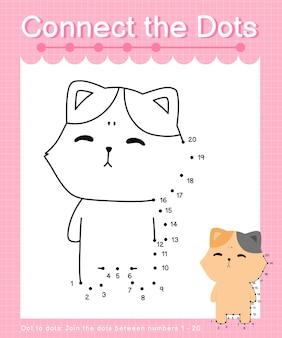 Connect the dots cat - jeux de point à point pour les enfants comptant le nombre 1-20