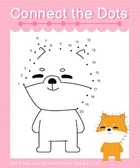 Connect the dots dog shiba inu - jeux point à point pour les enfants comptant le nombre 1-20