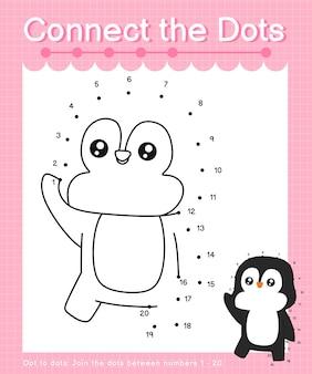 Connect the dots penguin - jeux de point à point pour les enfants comptant le nombre 1-20